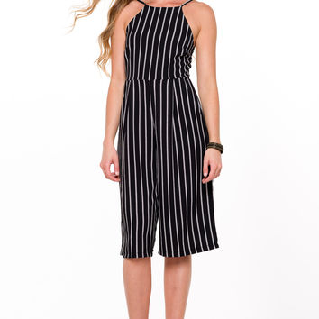 (ali) Striped gaucho black romper