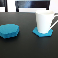Merino Wooll Felt Turquoise Hexagon Coasters, Set Of 4 Drink coasters, Home Decoration Tableware Eco-Friendly Coasters, Party Decoration