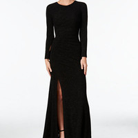 Calvin Klein Glitter Ruched Front-Slit Gown - Dresses - Women - Macy's