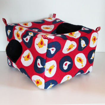 Hanging Chinchilla Cube, Square Rat Hammock - Nautical Coloured Birds with Navy FLeece