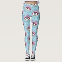 Weird Blue Psychedelic Eye Pattern Leggings