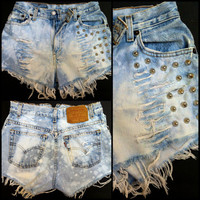 Vintage High Waisted Distressed and Studded