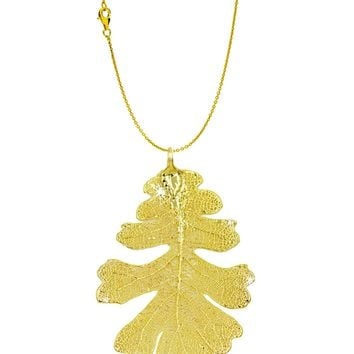 Real Leaf PENDANT with Chain Lacey OAK in 24K Yellow Gold Leaf Necklace