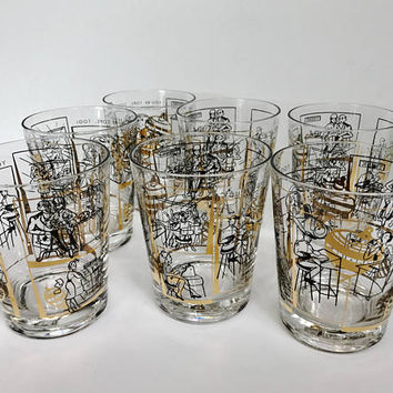"RARE Mid Century Cocktail Glasses 1950s Office Culture Sexy Secretary Sexist Black Gold Glasses Office Humor ""You're Tops Too"" Barware MCM"