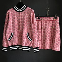 GUCCI New Fashionable Popular Women Casual Double G Jacquard Sweater Knit Cardigan Jacket Coat+Short Skirt Two Piece Set Pink I13750-1
