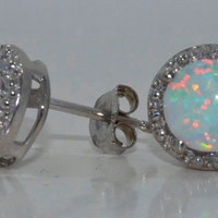 14Kt White Gold Opal Round Diamond Stud Earrings