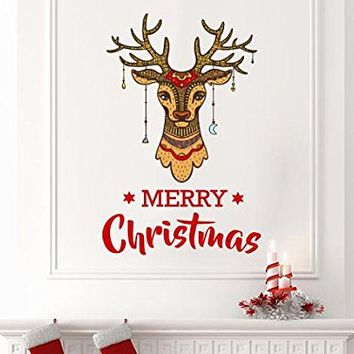 "Merry Christmas Wall Decals Deer Full Color Murals Deer Antler Colorful Holiday Vinyl Stickers Rustic for Christmas Decoration Art EN40 (17"" Wide x 27"" Tall)"