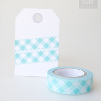 WASHI TAPE ,turquoise and white checkered pattern