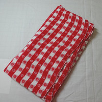 1970s Vintage Red & White Plaid Woven Picnic Tablecloth, 61 x 37 Inches, Pretty Woven Tablecloth with Woven Flowers, All Cotton
