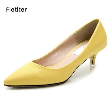 Fletiter 2018 Women Shoes Summer Med Heels 5 CM Pumps Kitten Heels Shoes for Office Lady Classic Black Working Shoes Size 34-41