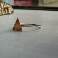 Triangle detail sterling silver stacking ring - custom made to size