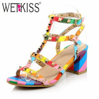 WETKISS 2016 Summer Women Shoes Ankle Strap Square Med Heels Sandals Rivets Gladiator Shoes Woman Plus Size 32-44 Zapatos Mujer