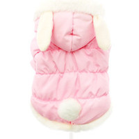 Pink Quilted Coat with Hood and Ears | Famous Chihuahua: Clothes and outfits for your cute tiny dog!