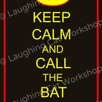 Batman art Keep Calm and Call the Bat Phone superhero comic book art print boys wall decor teen girl wall art teen boys room art gift poster