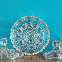 Vintage cut glass candy dishes with lids - midcentury glass dishes with gold edging and beautifully designed cut glass
