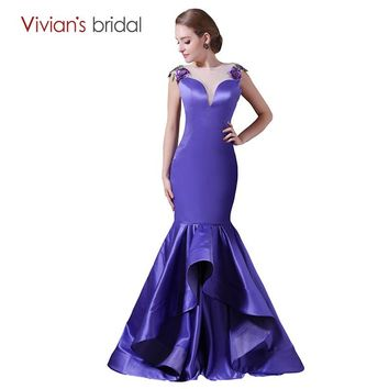 Purple Mermaid Evening Dress Cap Sleeve Satin Evening Gown Appliques See Through Back Prom Dress