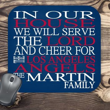 In Our House We Will Serve The Lord And Cheer for The Los Angeles Angels Personalized Family Name Christian Mouse Pad - Perfect Gift