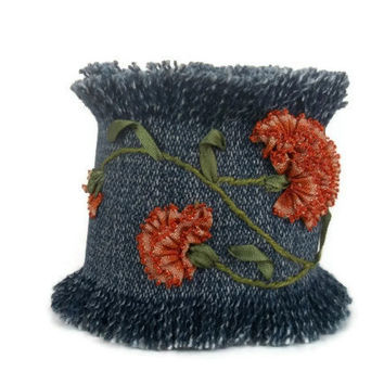 Embroidered Cuff Bracelet - OOAK - Embroidered Flower Bracelet-Hand Embroidered - Denim Bracelet