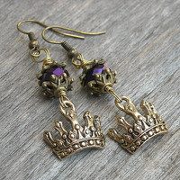 Royal Crown Earrings, Tiara Earrings, Crown Jewelry, Steampunk Earrings, Steampunk Jewelry, Gold Earrings, Royalty, Gothic, Goth,