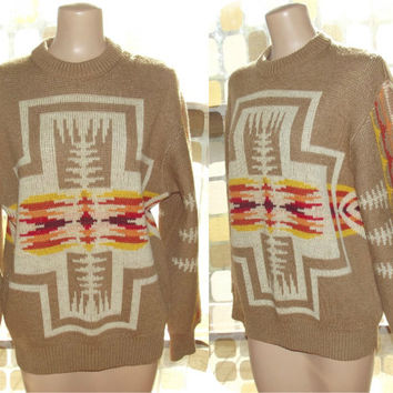 Vintage 70s Pendleton Navajo Western Wear Knit Sweater L Large Virgin Wool Cowichan Aztec