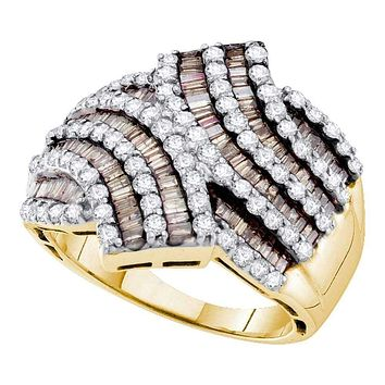 14kt Yellow Gold Women's Baguette Brown Color Enhanced Diamond Bypass Band Ring 1-3/4 Cttw - FREE Shipping (US/CAN)