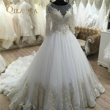 Vestido De Noiva Lace Ball Gown Wedding Dresses 2018 Cap Sleeve Embroidery Beaded Vintage Bridal Gown Plus Size