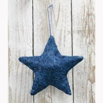 Sisal Star Ornament - Blue