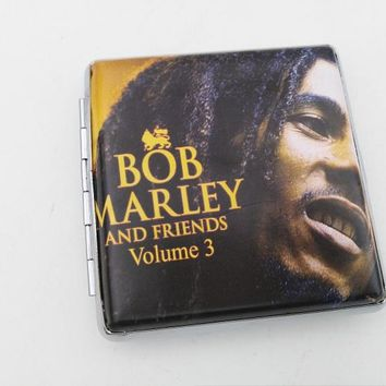 2017 Best selling Bob Marley Leather & Metal Cigarette Box hold 20 pcs Pouch Case Holder Tobacco Storage Container