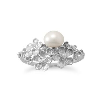Rhodium Plated Decorative Flower and Cultured Freshwater Pearl Ring
