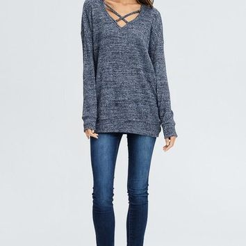 Charcoal Grey Criss Cross Sweater