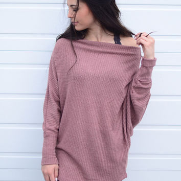 Off and On Tunic- Light Maroon