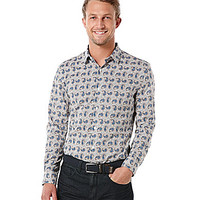 Perry Ellis Big & Tall Long-Sleeve Paisley Woven Shirt - Stone