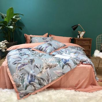 4pcs Queen King Size Bedding Set Sheets Egyptian Cotton Silky Bedclothes Duvet Cover Bed Sheet Set Birds Leaf Bedding Bed Linen