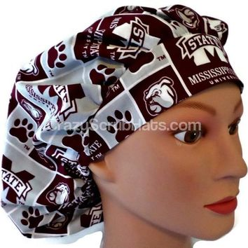 Women's Bouffant Surgical Scrub Hat Cap in Mississippi Bulldogs w/ Elastic and Cord-Lock