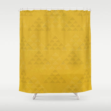 Polka Pyramids: Mustard Shower Curtain by Kat Mun