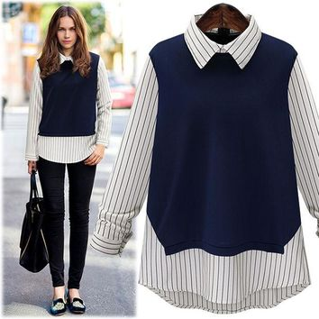 VOND4H Large size 2016 New Autumn Fashion Women Peter pan Collar Stripe Stitching Long-Sleeved Shirt Ladies tops blouse