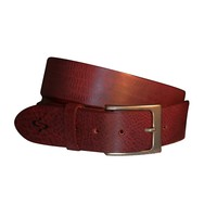 Lato Curved Handmade Leather Belt - Sangria