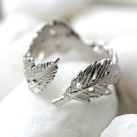 Fallen Leaves Knuckle Ring Leaf Ring Branch Ring Adjustable Twig Ring Matt Gold Silver Plated Jewelry gift idea Open Free size Select Color