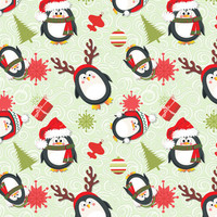Holiday Penguins Green Christmas - spicetree - Spoonflower