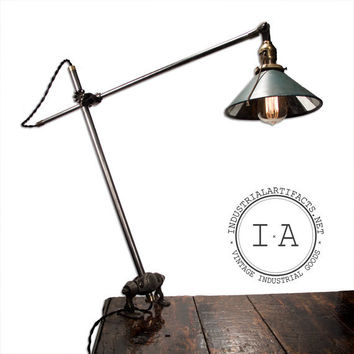 Vintage Industrial OC White Ball Joint Desk / Wall Mount Articulating Task Lamp w/ Rare Mirror Reflector  Shade