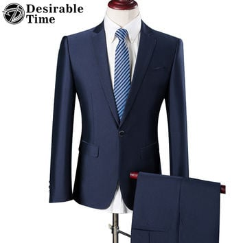 Men Slim Fit Blue Suits with Pants Wedding Groom Men Coffee Party Business Tuxedo Suit