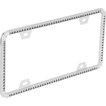 Auto Drive Diamonds License Plate Frame, Chrome