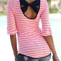 Red Striped Print Bow Backless Casual Going out T-Shirt