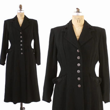 Vintage 40s Princess COAT / 1940s Black Wool Soutache Trim Fit and Flare Winter Coat S