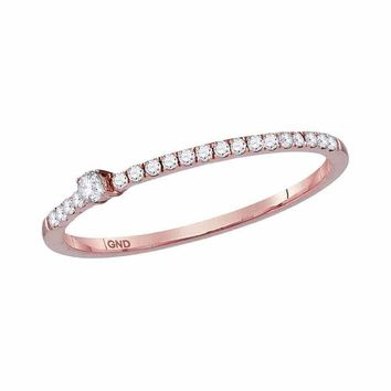 10kt Rose Gold Womens Round Diamond Solitaire Stackable Band Ring 1/6 Cttw