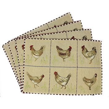 Tache Country Farmhouse Rooster Hens Woven Tapestry Placemat (13139PM)