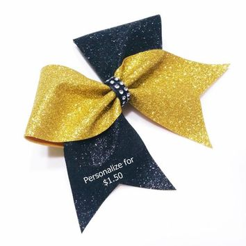 Gold glitter cheer bow, cheer bows, Black glitter cheer bow, personalized cheer bow, cheerleader bow, cheerleading bow, softball bow, bow