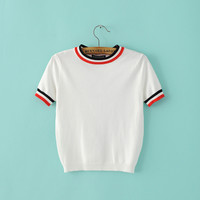 Summer Stripes Knit Short Sleeve Pullover Tops [8173422471]