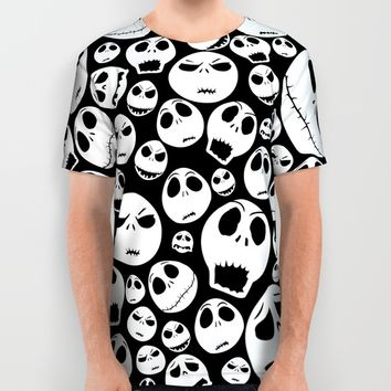 Halloween Jack Skellingtons emoticon face pattern All Over Print Shirt by Greenlight8