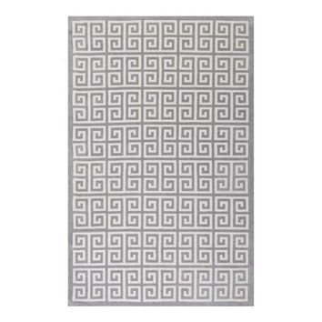 Freydis Greek Key 8x10 Area Rug, White and Light Gray -Modway